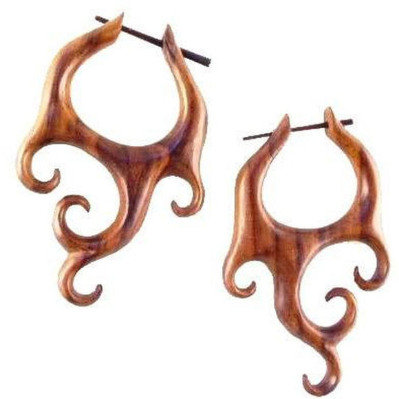 Natural Jewelry | Sono Wood Earrings, 1 3/8 inches W x 2 1/8 inches L. $39