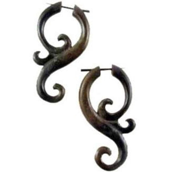 Wood Jewelry | Arang Wood Earrings, 1 1/4 inches W x 2 1/8 inches L. $36