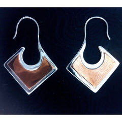Triangle Spiral Earrings | Copper and Silver. sterling silver with copper highlights earrings.