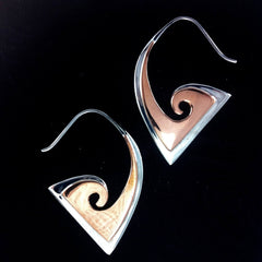 Triangle Spiral Earrings | Curved Angle. sterling silver with copper highlights earrings.