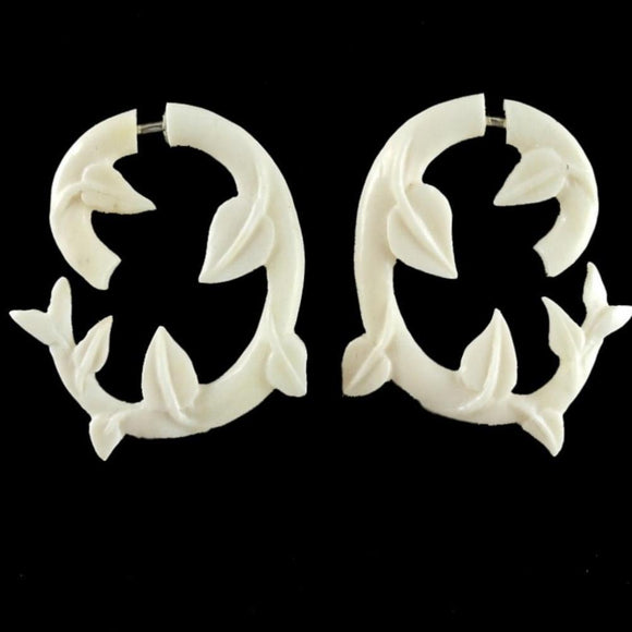 Diva Fake Gauges | Ivy, white. Faux Gauges. Bone Jewelry.