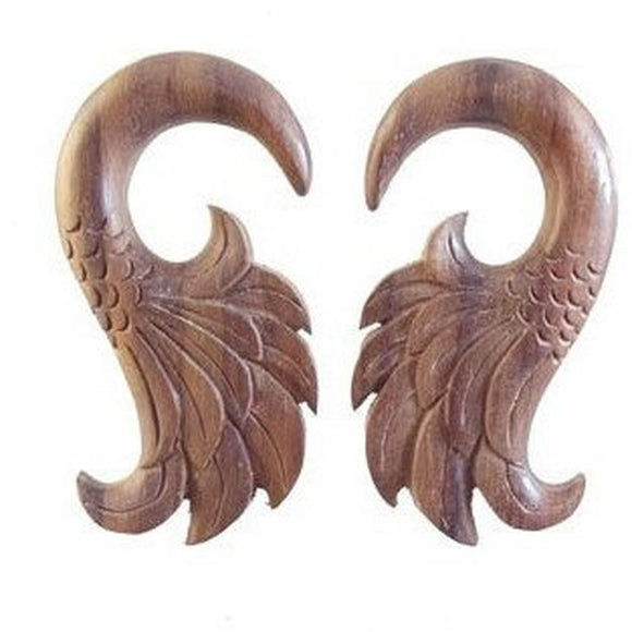 Wood Jewelry | Wings. Sono Wood 0 Gauge Earrings. Piercing Jewelry