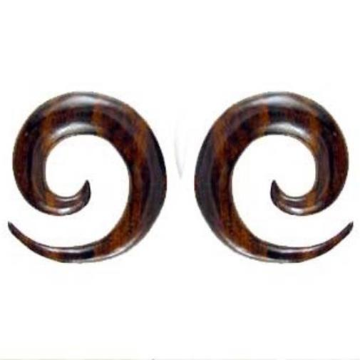 Maori 00 Gauge Earrings | Maori Spiral. Sono Wood 00g Organic Body Jewelry.