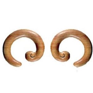 0 Gauge Earrings | Spiral Hoop. Sabo Wood 0g, Organic Body Jewelry.