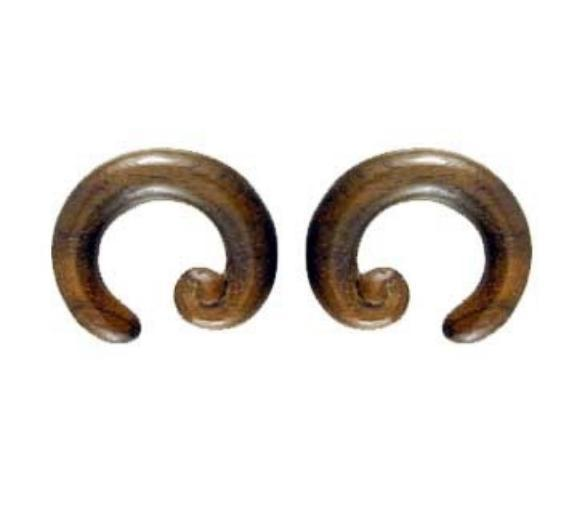 Wood Jewelry | Spiral Hoop. Sono Wood 00g, Organic Body Jewelry.