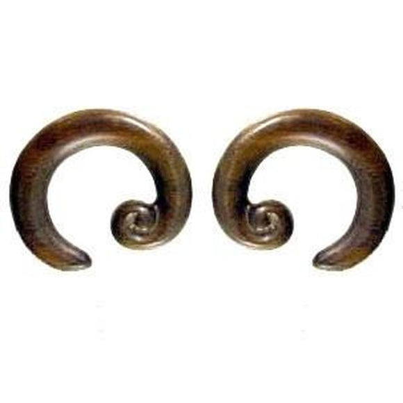 Wood Jewelry | Spiral Hoop. Sono Wood 0g, Organic Body Jewelry.