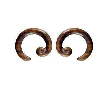 Wood Jewelry | Spiral Hoop. Sono Wood 2g, Organic Body Jewelry.
