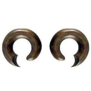 Tribal 00 Gauge Earrings | Talon Hoop. Sono Wood 00g Organic Body Jewelry.