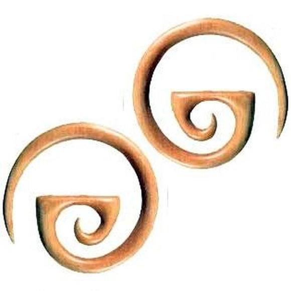 Body Jewelry | Mediterranean Spiral. Sabo Wood 4g, Organic Body Jewelry.