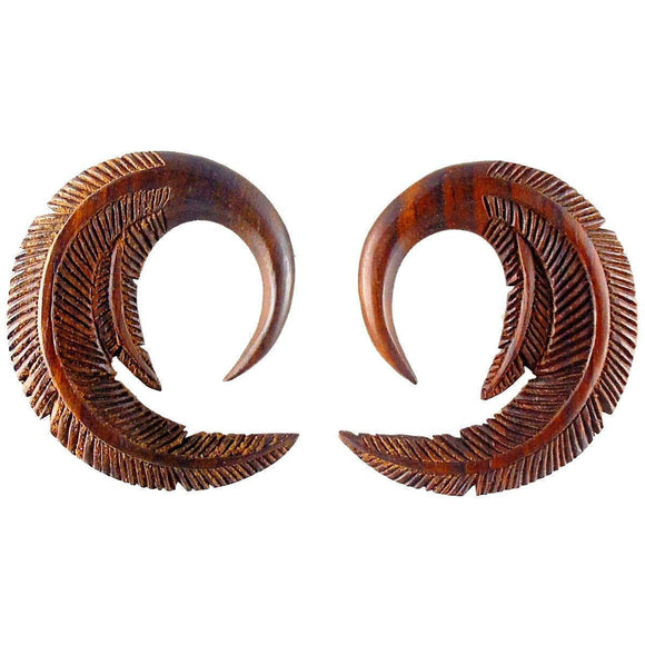 Organic Piercing Jewelry | Feather. Sono Wood 0 gauge body jewelry.