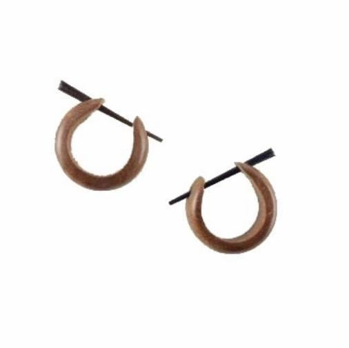 Tribal Jewelry | Basic Medium Hoops, Tribal Earrings, wood. 3/4