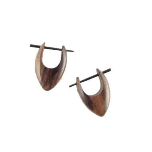 Natural Jewelry | Basic Drop Point Hoops. Wooden Earrings, sono. 5/8