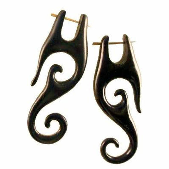 Spiral Tribal Earrings | Drops, black. Wood Earrings. Natural Jewelry.