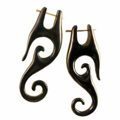 Borneo Spiral Earrings | Drops, black. Wood Earrings. Natural Jewelry.