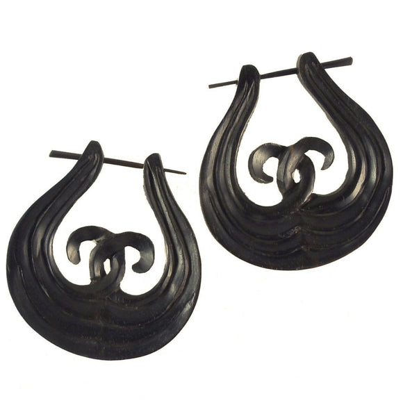 Wood Jewelry | Unify. Black Wood Earrings,  1 1/4