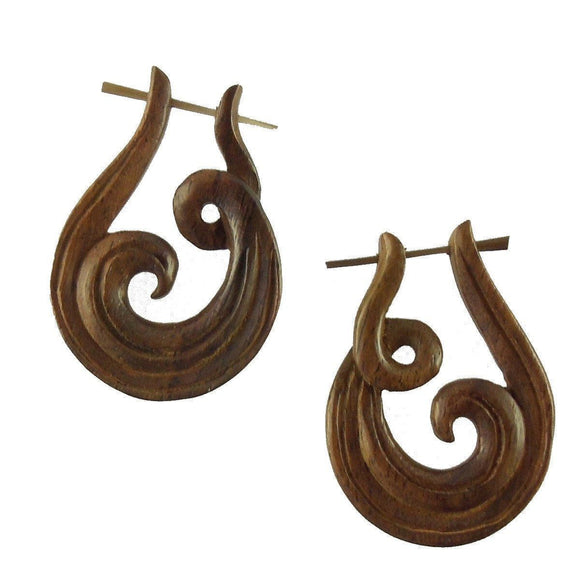 Stick Spiral Earrings | Revolve. Wood Earrings. Natural Sono, Handmade Wooden Jewelry.