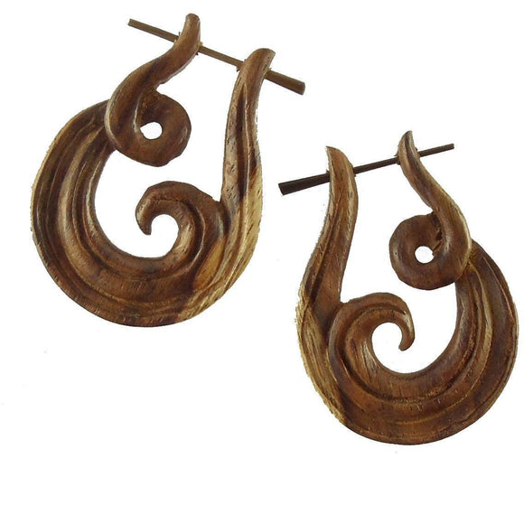 Stick Spiral Earrings | Revolve. Spiral Hoop Earrings. wood.