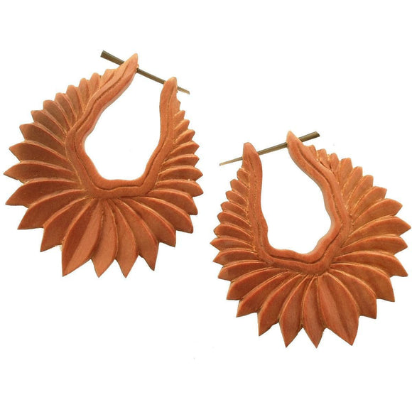 Wood Jewelry | Fire Blossom. Wood Earrings. Natural Sabo, Handmade Wooden Jewelry.