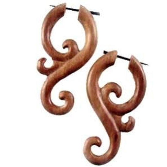Stick Spiral Earrings | Mantra. Wood Earrings. Natural Sabo, Handmade Wooden Jewelry.