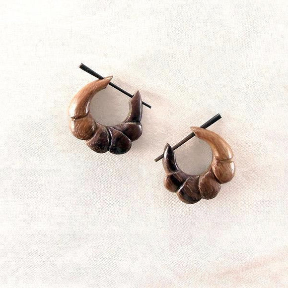 Sale and Clearance | Sono Wood Earrings, 7/8 inches W x 7/8 inches L.