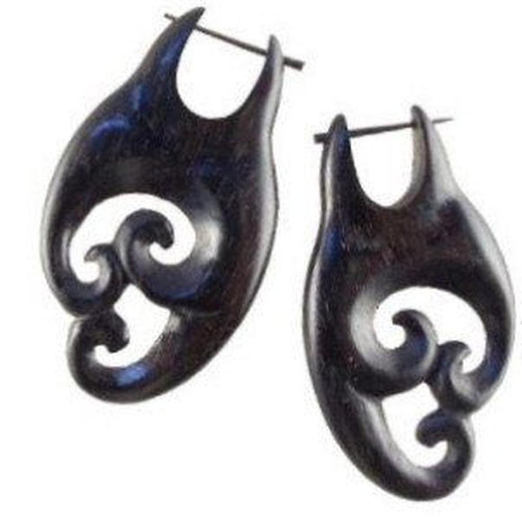 Wood Jewelry | Black Wood Earrings, Maori. 1 inches W x 1 7/8 inches L. $36