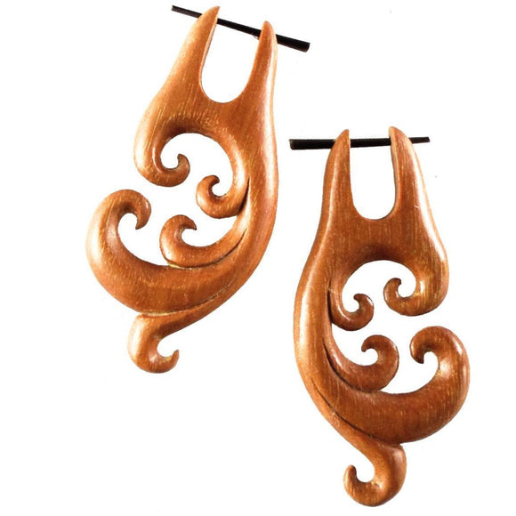 Spiral Organic Earrings | Spectral Swirl. Wood Earrings. Natural Sabo, Handmade Wooden Jewelry.