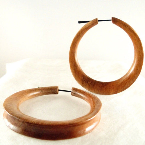 Coconut Gauges | Jupiter Hoop. Extra Large. Wood Hoop Earrings, Natural Sabo. Wooden Jewelry.