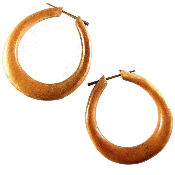 Hoop Earrings | Mana Hoop. Wood Hoop Earrings, Natural Sabo. Wooden Jewelry.