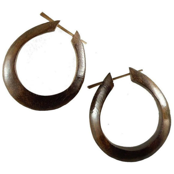 Wood Jewelry | Medium Large Angular Hoops, sono. Wood Hoop Earrings. Boho Jewelry.