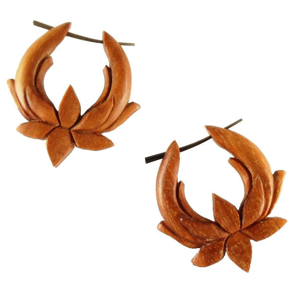 Sabo wood Earrings | Summer Lotus. Medium Hoop. Wood Earrings. Natural Sabo, Handmade Wooden Jewelry.