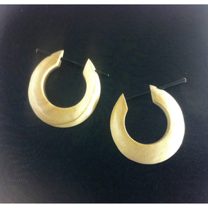 Wooden Jewelry | Medium large basic hoop, cream. Wood Hoop Earrings. Wood Jewelry.