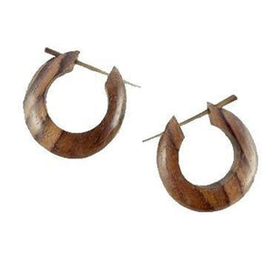 Wooden Jewelry | Medium large basic hoop. Wood Hoop Earrings. Sono Wood.