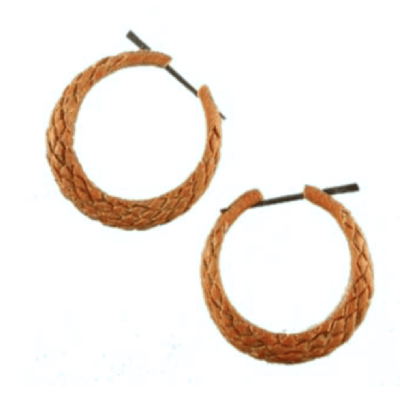 Sabo wood Earrings | Serpent Hoop. Wood Hoop Earrings, Natural Sabo. Wooden Jewelry.