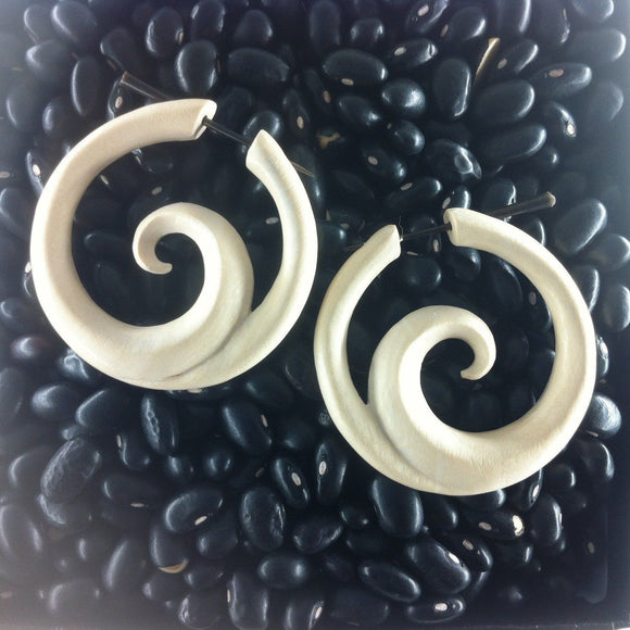 $20 to $30 Spiral Earrings | Ocean. Hoop. Crocodile Wood. Wooden Earrings & Jewelry. Handmade.