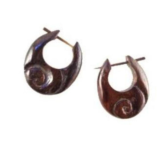 Sale and Clearance | Inward Hoops. Wooden Earrings, sono. 3/4