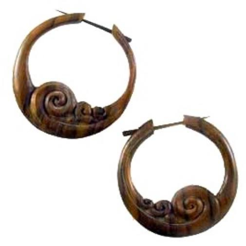 Wave, Boho hoop earrings, natural wood. Tribal jewelry.