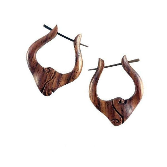 Natural Jewelry | Nouveau Drop Hoops, Sono Wood Earrings, 7/8