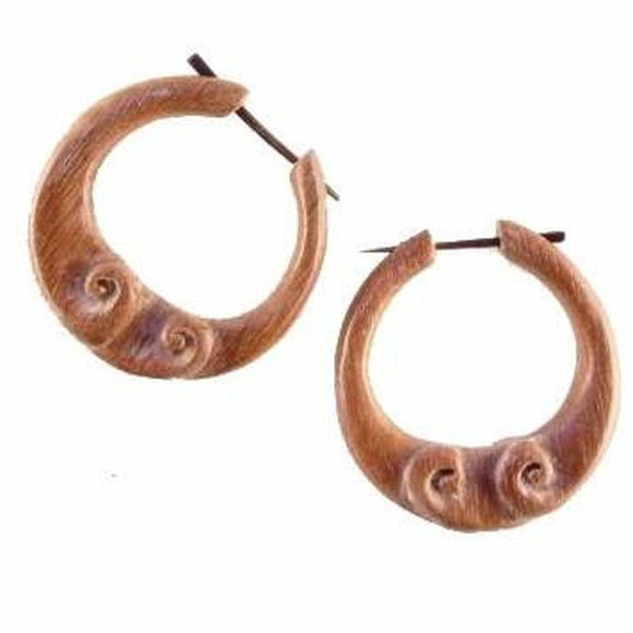 Sabo wood Earrings | Cloud Hoop. Wood Earrings. Natural Sabo, Handmade Wooden Jewelry.