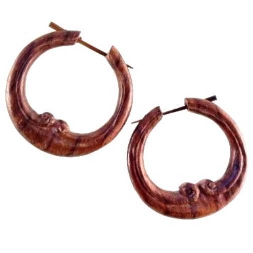 Wood Jewelry | Embellished Hoop. Wood Earrings. Natural Sono, Handmade Wooden Jewelry.