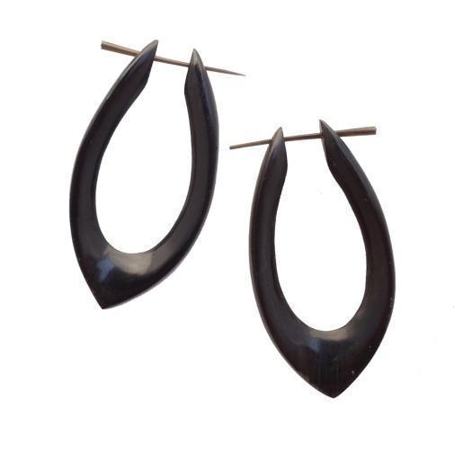 Horn Hoop Earrings | Shakti Hoops. Black Horn Hoop Earrings.