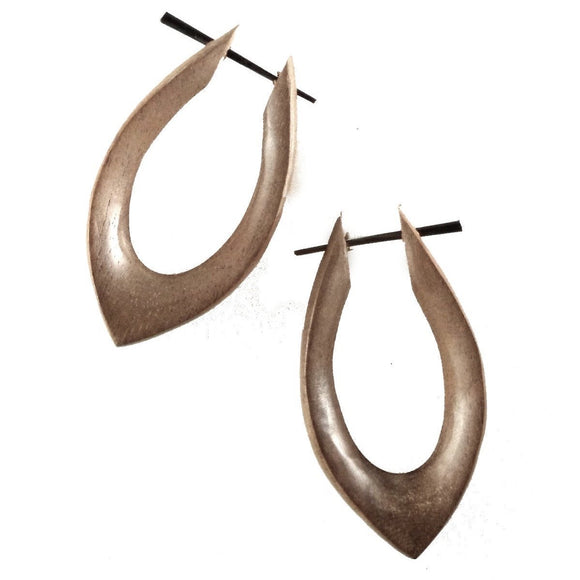 Natural Jewelry | Shakti Hoops. Dark Hibiscus Wood, 7/8