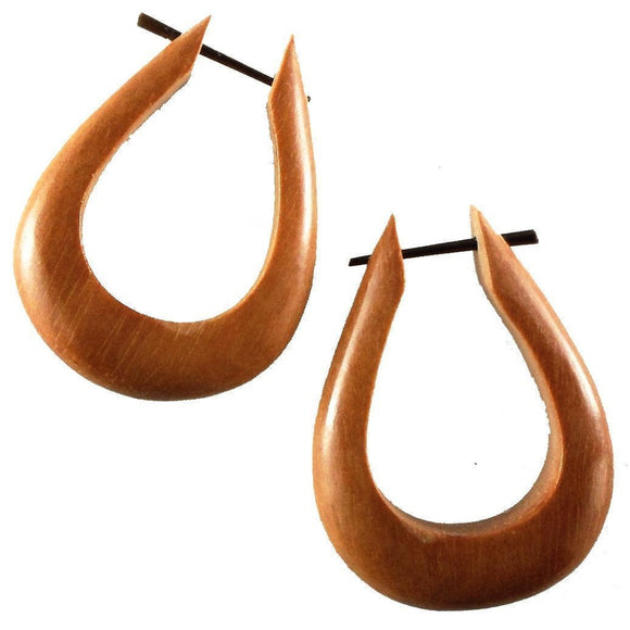 Wood Jewelry | Tahoe Hoops. Wood Hoop Earrings, Natural Sabo. Wooden Jewelry.