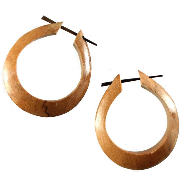 Wood Jewelry | Medium Large Angular Hoops. Wood Hoop Earrings, Natural Sabo. Wooden Jewelry.