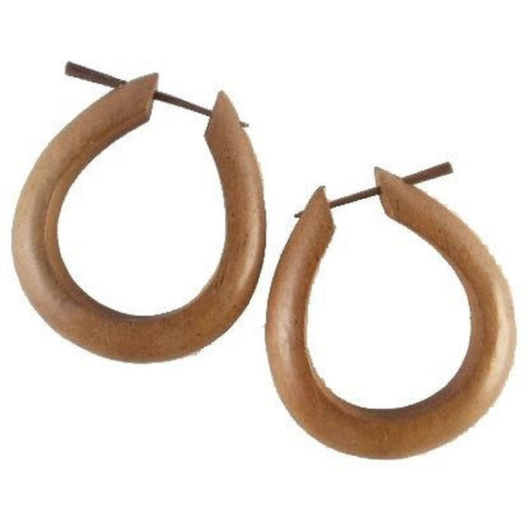 Tribal Jewelry | Medium Large Angular Hoops, hibiscus. Wood Hoop Earrings.