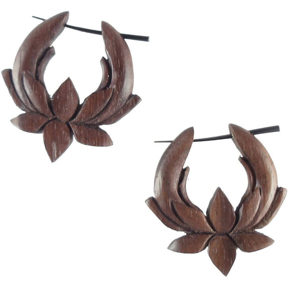 Wood Jewelry | Lotus Hoop Earrings. Metal-free hypoallegenic earrings. wood. 1 1/4