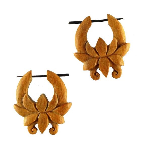 Wood Jewelry | Chocolate Flower. Tribal Earrings, wood. 1