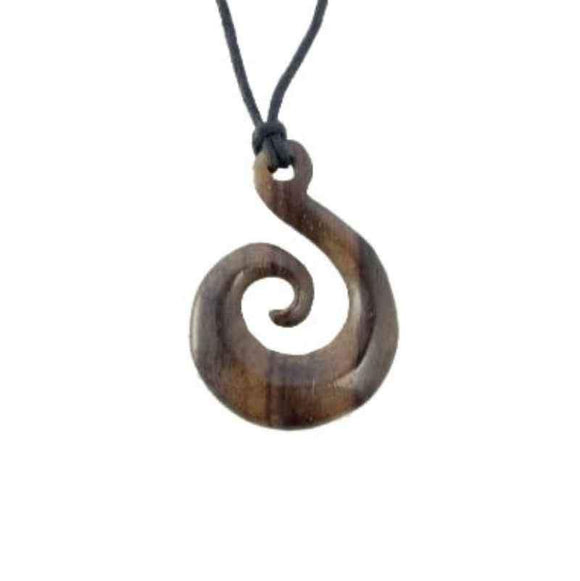 Wooden Jewelry | Sono Wood Earrings, Sprial of Life pendant.