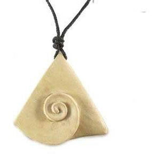 Wooden Jewelry | Inner Spiral. Wood Necklace. Ivory Wood Jewelry.