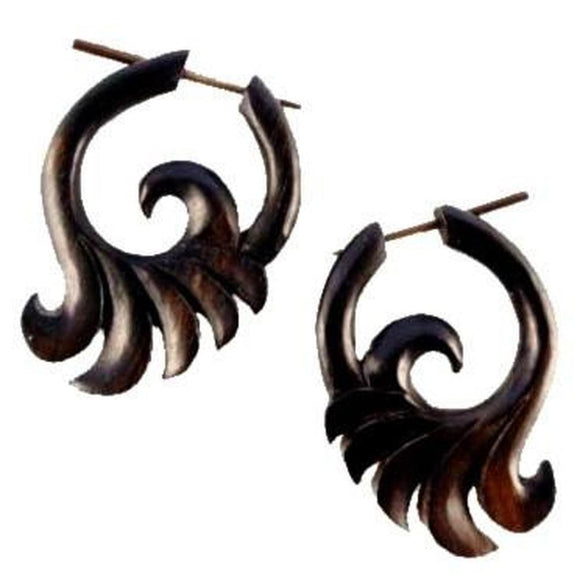 Spiral Jewelry | Ocean Wings, black spiral earrings. Wooden Jewelry.
