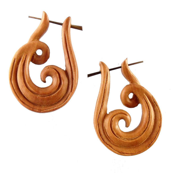 Spiral Jewelry | Revolve. Wood Earrings. Natural Sabo, Handmade Wooden Jewelry.